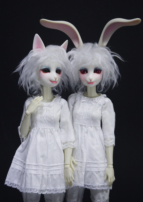 ウサギ ネコ ドール rabbit bunny cat kitty doll